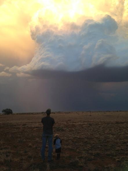 Matt and Trevor looking at storm cloud