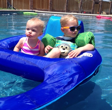 Claire and Trevor in pool