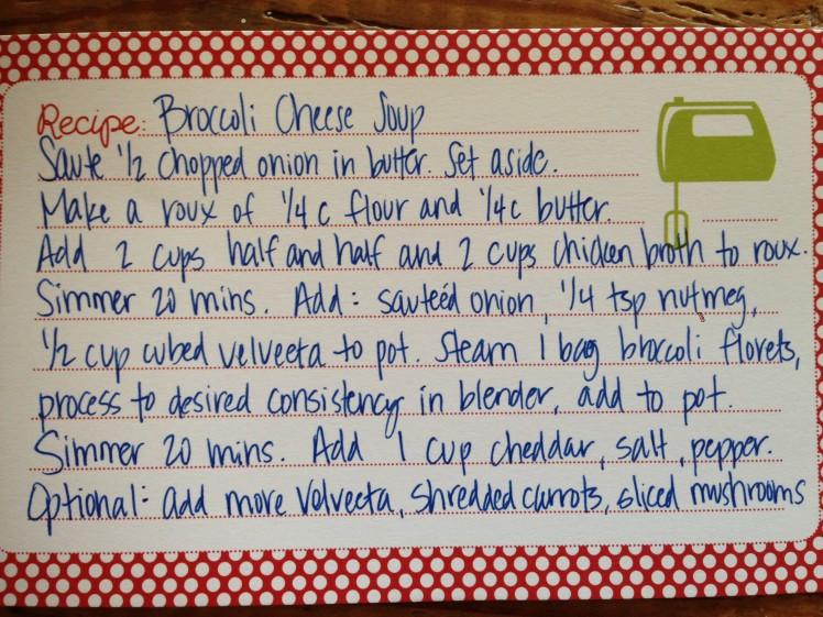 soup recipe card